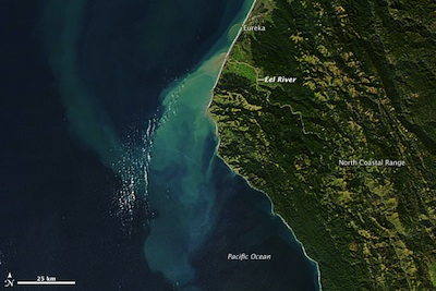 NASA/MODIS image of Eel River sediments December 9, 2012