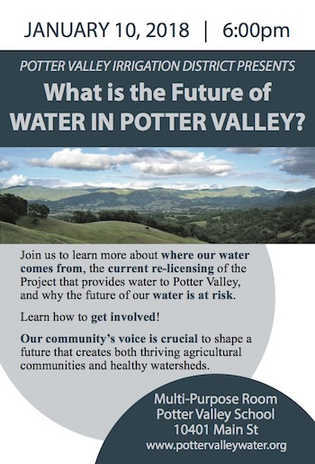 Meeting flyer for January 10, 2018, Potter Valley School Multipurpose room, 6pm.